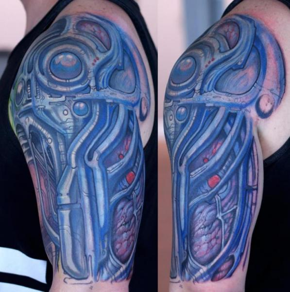 Shoulder Biomechanical Tattoo by Graven Image Tattoo