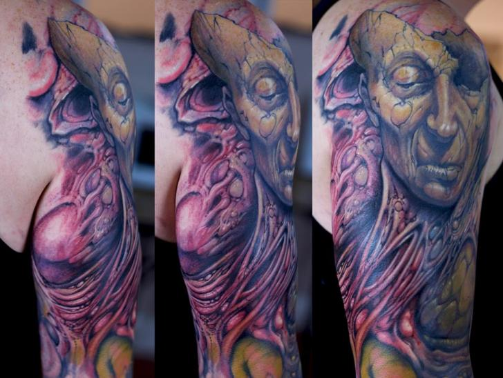 Shoulder Fantasy Monster Tattoo by Graven Image Tattoo