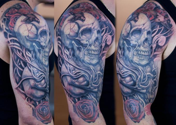 Shoulder Skull Tattoo by Graven Image Tattoo
