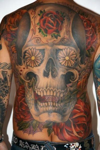 Japanese Skull Back Tattoo by Guru Tattoo