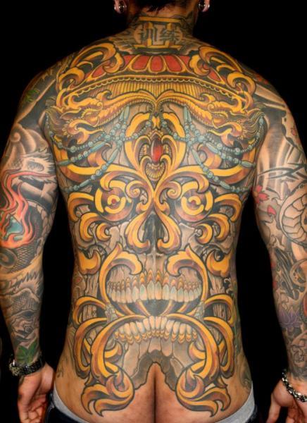 Skull Back Tattoo by Guru Tattoo