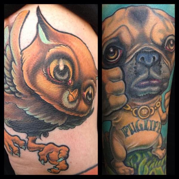 Hund Eulen Charakter Tattoo von Guru Tattoo