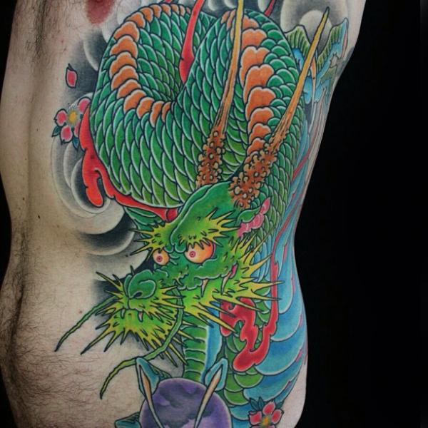 Side Japanese Dragon Tattoo by Guru Tattoo