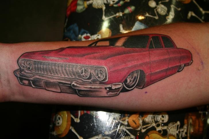 Arm Realistic Car Tattoo by Hb Tattoo