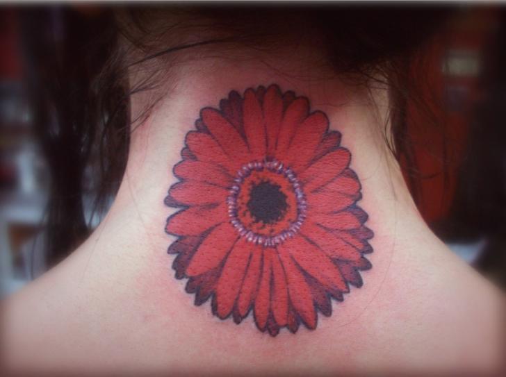 Flower Neck Tattoo by Hb Tattoo