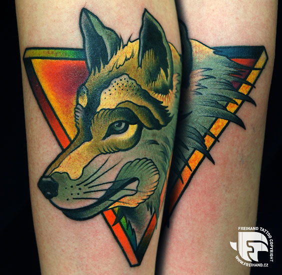 Arm Dog Tattoo by FreiHand Tattoo