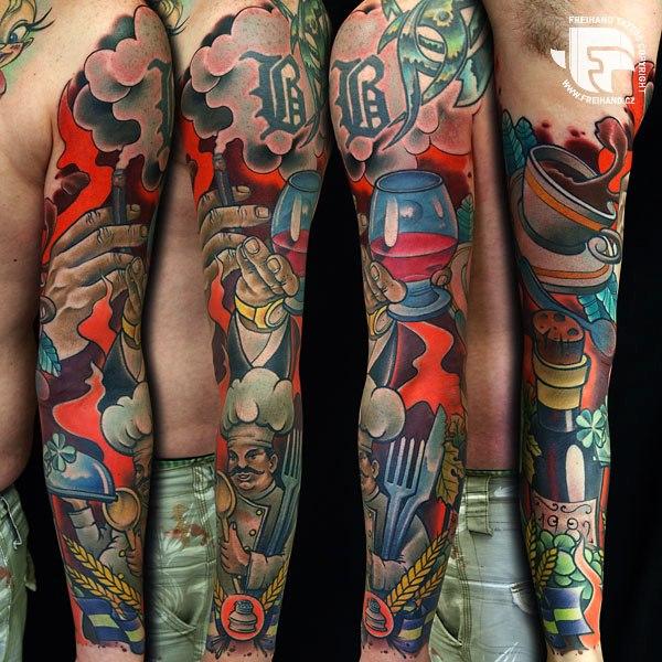 Tatuaggio Braccio Fantasy Ristorante di FreiHand Tattoo