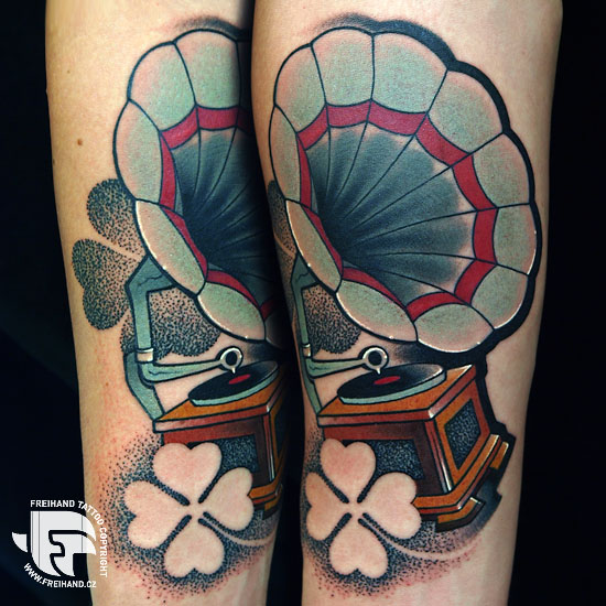 Arm Gramophone Tattoo by FreiHand Tattoo