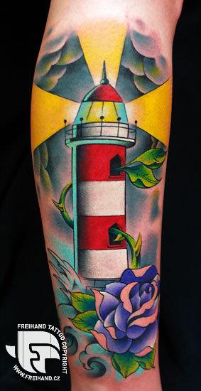Arm New School Leuchtturm Tattoo von FreiHand Tattoo