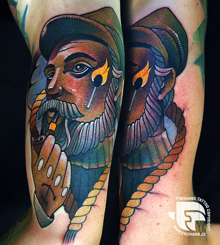 Arm New School Mariner Tattoo by FreiHand Tattoo