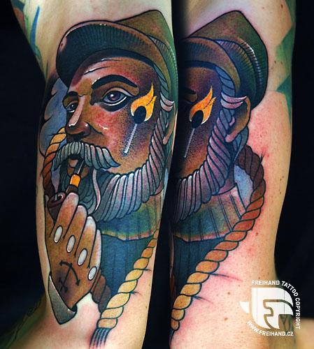 Arm New School Seefahrer Tattoo von FreiHand Tattoo
