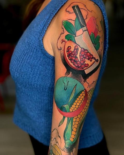 Arm Pomegranate Tattoo by FreiHand Tattoo