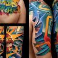 tatuaje Brazo Letras Espalda Murales por FreiHand Tattoo