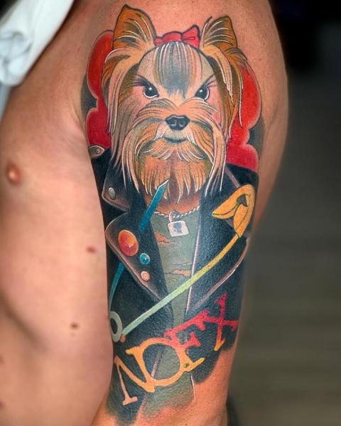 Arm Dog Tattoo by FreiHand Tattoo