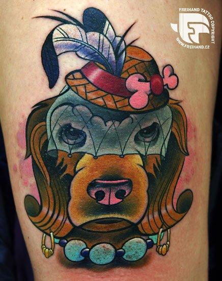 Fantasy Dog Tattoo by FreiHand Tattoo