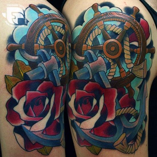 Shoulder New School Rudder Tattoo by FreiHand Tattoo