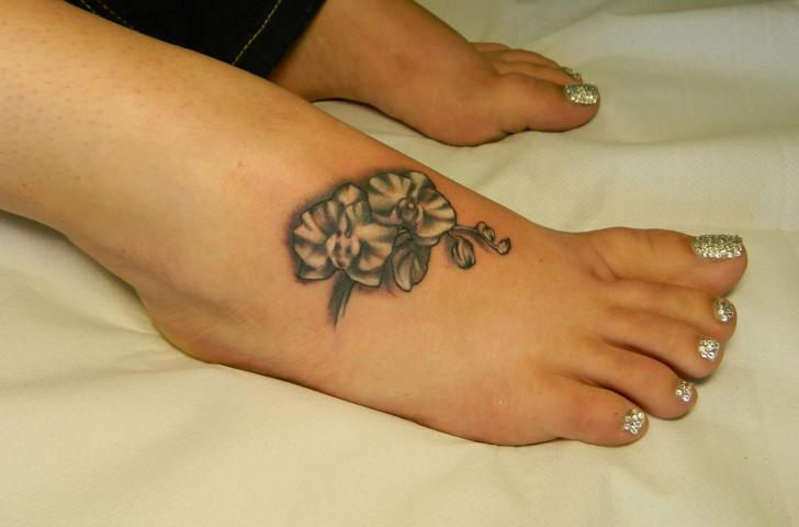 Foot Flower Tattoo by Helyar Tattoos