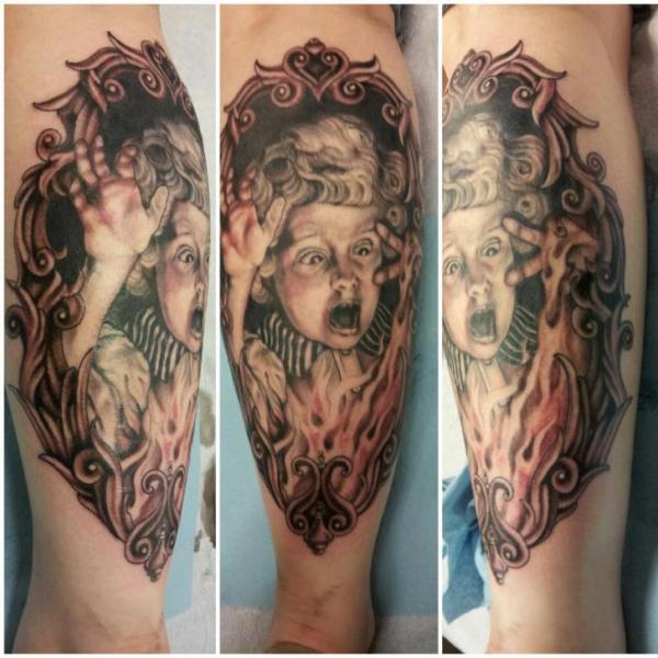 Arm Children Mirror Tattoo by Hidden Hand Tattoo