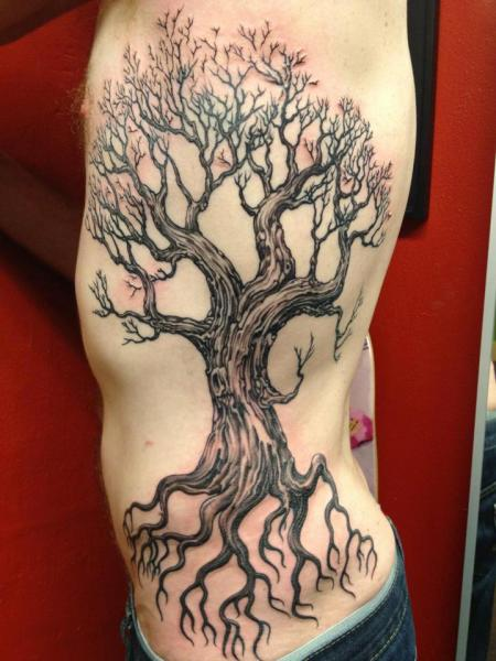 Realistic Side Tree Tattoo by Hidden Hand Tattoo