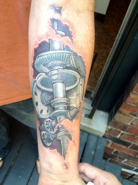 Arm Biomechanical Gear Tattoo by High Street Tattoo