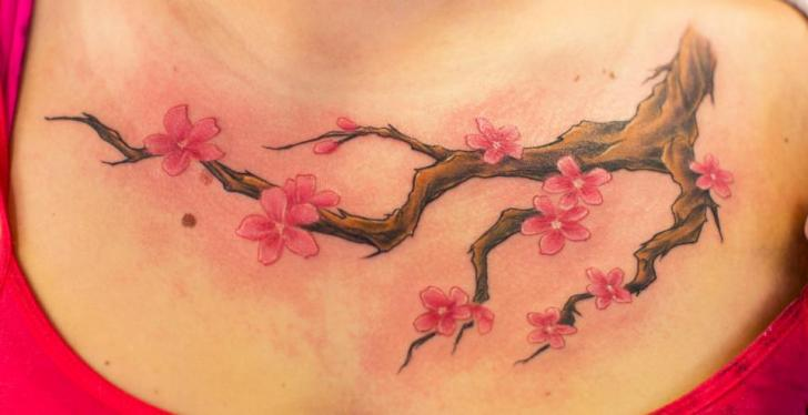 Flower Cherry Breast Tattoo by Immortal Canvas