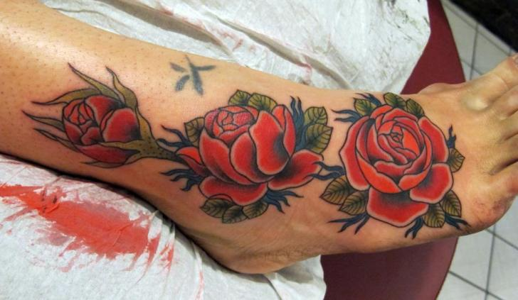 Old School Foot Flower Ankle Rose Tattoo By Inborn Tattoo