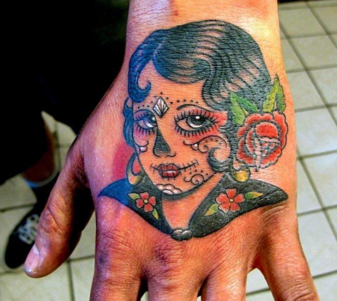 Old School Hand Kopf Tattoo von Inborn Tattoo