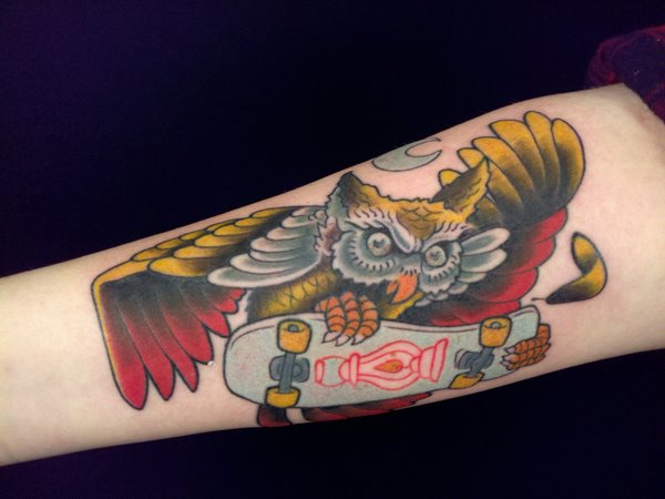 Old School Owl Skate Tattoo By Indipendent Tattoo
