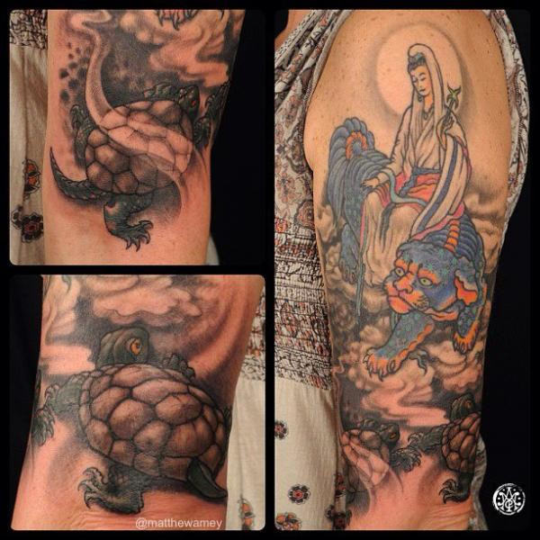 Japanese Women Tiger Turtle Tattoo by Indipendent Tattoo