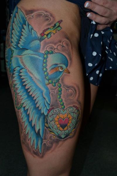 Leg Bird Tattoo by Industry Tattoo