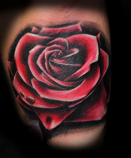 Realistic Rose Tattoo by Industry Tattoo