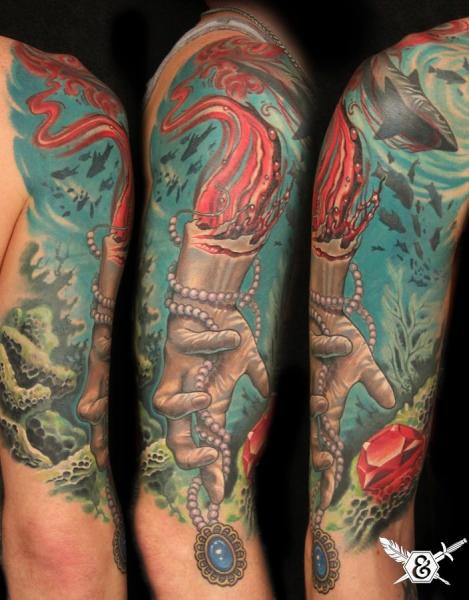 Arm Hand Shark Landscape Medallion Tattoo by Ink and Dagger Tattoo