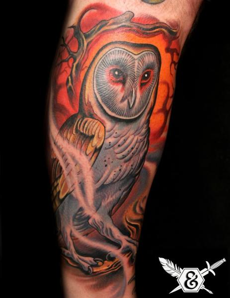 Arm Owl Tattoo by Ink and Dagger Tattoo