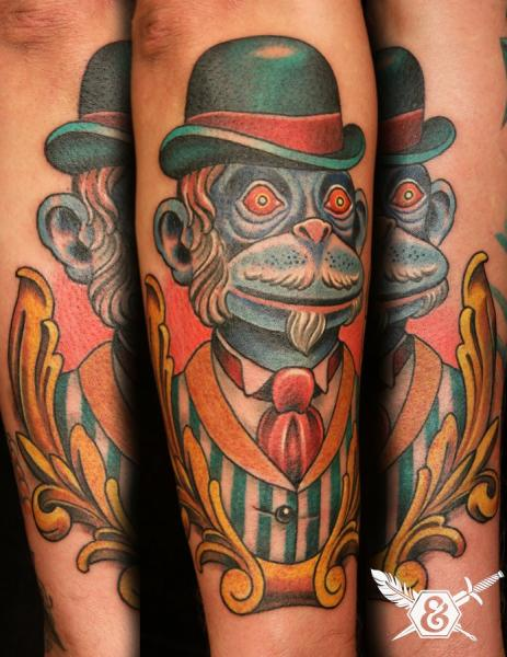 Arm New School Monkey Tattoo by Ink and Dagger Tattoo