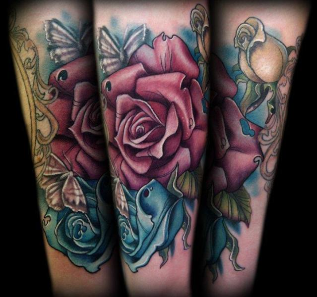Fantasy Flower Rose Tattoo by Ink and Dagger Tattoo