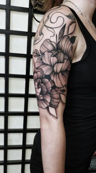 Arm Flower Dotwork Tattoo by Art Corpus