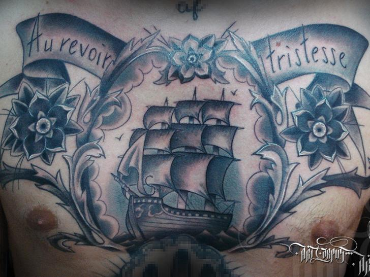 Chest Old School Galleon Tattoo by Art Corpus