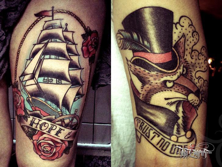 Tatuaje Old School Lobo Galeón por Art Corpus