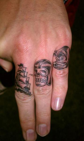 Finger Pig Galleon Tattoo by Outsiders Ink