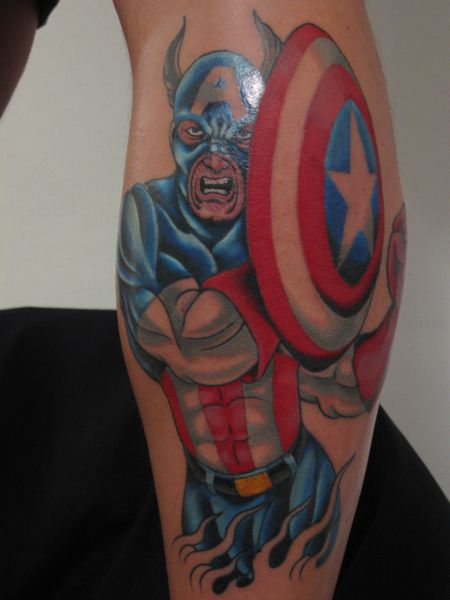 Tatuaggio Braccio Fantasy Capitano America di Invisible Nyc