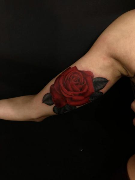 Arm Flower Rose Tattoo by Invisible Nyc