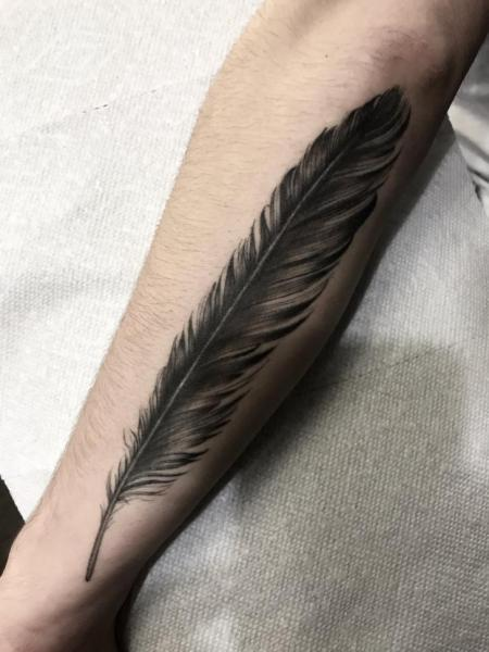 Arm Realistic Feather Tattoo by Invisible Nyc