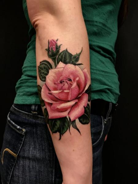 Arm Realistic Flower Rose Tattoo by Invisible Nyc