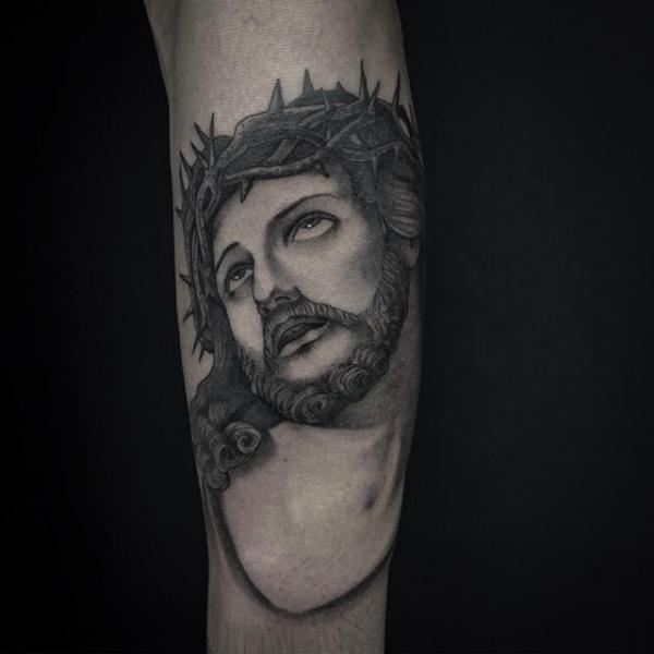 Arm Jesus Religious Tattoo by Invisible Nyc