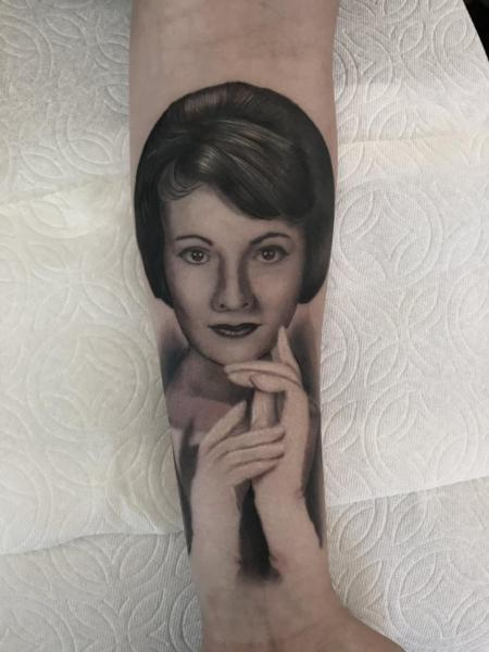 Arm Portrait Woman Tattoo by Invisible Nyc