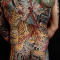 Japanese Back Tiger Dragon Body tattoo by Invisible Nyc