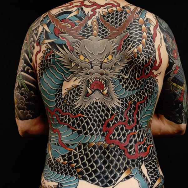 Japanese Back Dragon Tattoo by Invisible Nyc