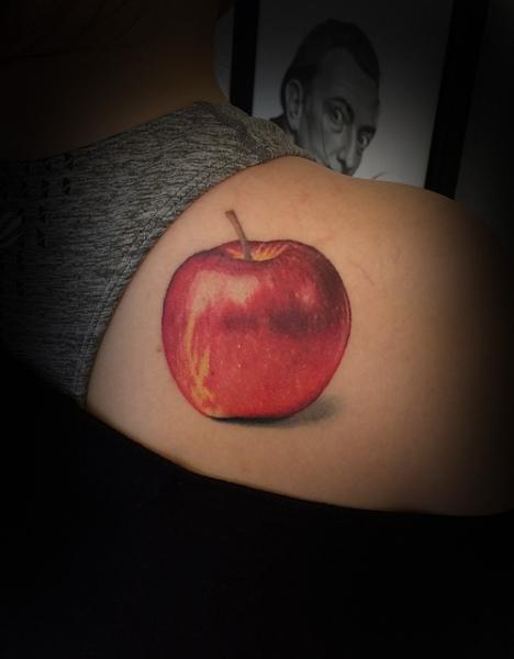 Shoulder Realistic Apple Tattoo by Invisible Nyc