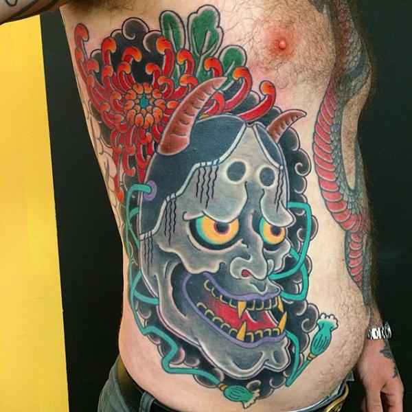 Side Japanese Mask Demon Tattoo by Invisible Nyc