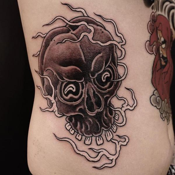 Side Skull Tattoo by Invisible Nyc
